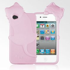 cute pink kiki cat iphone 4 case, with bendable head