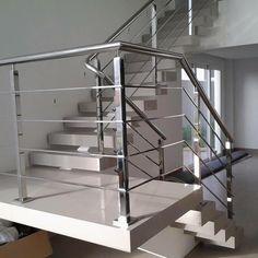 Steel Railing Design, Balcony Railing Design, Railings, Stairs, Home Decor, Glass Rack, Railing Design, Indoor Stair Railing, Tiny House Stairs