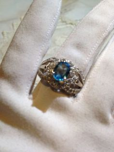 Nemesis Antique Blue Topaz Stone 92.5% Sterling Silver Ring
