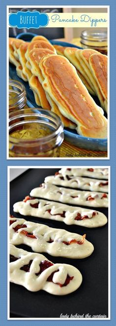 Buffet Pancake Dippers: 1 recipe Bisquick pancake batter including to make batter; 12 slices center cut bacon; lite syrup Cook bacon+set aside. Mix batter according to pkg . Pour into squeeze bottle with big enough hole for batter to pour from. (ketchup bottle). Cut tip bigger. Heat griddle to 300 ºF. Squirt batter in long oval shape little longer+wider bacon+place slice cooked bacon in center. Lightly press bacon into batter. Squeeze more batter over bacon. Serve syrup in 4 oz mason jars.