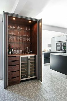 65 armoire bar cabinet coffee station wine cabinet rustic bar 59 « Home Design Küchen Design, House Design, Design Ideas, Armoire Bar, Wine Storage, Trendy Home, Bars For Home, Mini Bar At Home, Kitchen Interior