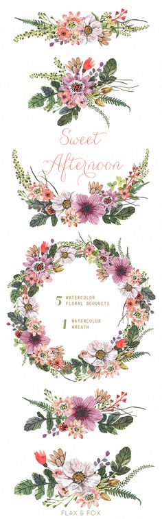 Sweet Afternoon Watercolor Bouquets Wreath hand painted