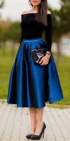 Sapphire A-line Midi Skirt