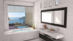 Contemporary Villa - Master Bathroom with Terrace and Jacuzzi