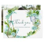 Watercolor Desert Cactus Succulents Wedding Thanks Card