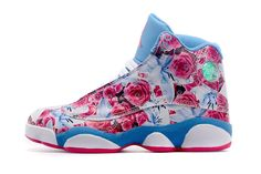 lowest price 3a3e9 d34b0 Women Nike Air Jordan 13 Floral Skyblue with Pink Rose 2015 Christmas Gift    New Jordans