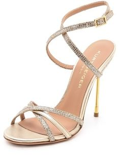 Kurt Geiger London Bridge Strappy Metallic Sandals, A crush of glitter over lamé adds lively sparkle to delicate Kurt Geiger London sandals composed of slender crisscross straps. A slender metal stiletto elevates the airy silhouette, and a buckle secures the ankle strap. Leather sole.
