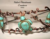 Rustic copper soldered , wire wrapped cuff bracelet turtles playing in the ocean