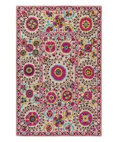 Loving this White & Pink Bukhara Rug on #zulily! #zulilyfinds