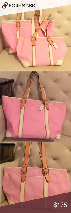Matching Coach Pale Pink White Leather Trim Totes Almost no signs of wear. A beautiful set! Willing to let go of them individually if you're interested in that as well. Coach Bags Totes