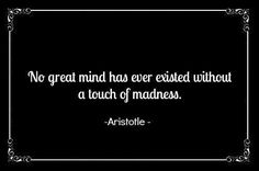 """""""No great mind has ever existed without a touch of madness"""" -  Aristotle"""
