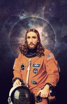 """Jesus is our Savior. Jesus loves us all. He's coming back real soon. Jesus Christ as an Astronaut in deep space, pop """"Jesus Christ Astronaut Poster, A Holy Space Print"""" by Nicholas Redfunkovich Psychedelic Art, Illustration Arte, Jesus Christus, Photocollage, Arte Pop, Dieselpunk, Collage Art, Collages, Nasa"""