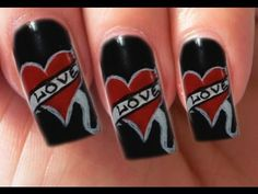 Valentine's Day Special 6/10 Ed Hardy Inspired Nail Art Tutorial