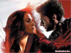 Famke Janssen as Jean Grey and Hugh Jackman as Wolverine.