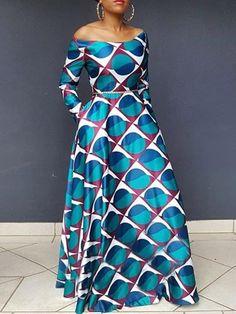 Slash Neck Long Sleeve African Ethnic Style Women's A-Line Dress African Maxi Dresses, Ankara Dress Styles, African Attire, African Clothes, African Wear, African Style, African Print Dress Designs, Women's A Line Dresses, African Fashion Designers