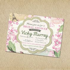 Bridal Shower Invitation- Shabby chic, Paris, vintage inspired, pinks and green floral - Customized, Digital, Printable designs