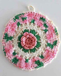 Picture of Vintage Pink Floral Potholder Crochet Patterns. Maggie's