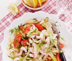 Fänkål gör sig utmärkt ihop med fisk eller skaldjur. Här serveras den i en pastarätt med räkor, tomater, citron och dill.