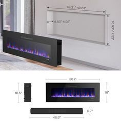 50 Recessed Electric Fireplace, In-wall& Wall Mounted & standing Electric Heater, Remote Control,Touch screen Image 4 of 10 Wall Mounted Fireplace, Home Fireplace, Living Room With Fireplace, Fireplace Design, Airstone Fireplace, Wood Mantle Fireplace, Linear Fireplace, Farmhouse Fireplace, Recessed Electric Fireplace