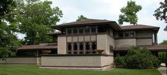 FRANK LLOYD WRIGHT:  Ward Willets House, Highland Park, Ill. 1900-02.The Willits House is the first house in true Prairie style and marks the full development of Wright's wood frame and stucco system of construction.