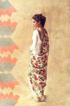 floral dupatta with a simple suit