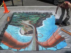 50 More Breathtaking 3d Street Art (paintings)  Caution Steep Grade, by Tracy Lee Stum
