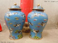 "22"" Old China 100% bronze cloisonne blue red-crowned crane Vases pair Statue"