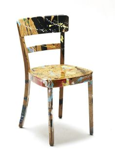 RS > Products > 'koln-splash' 2009 / vintage horgenglarus wooden chair, paint, lacquer / x x / studio piece Home N Decor, Painted Chair, Eclectic Decor, Artsy Decor, Chair, Furniture Inspiration, Wooden Chair, Cool Furniture, Decoupage Chair