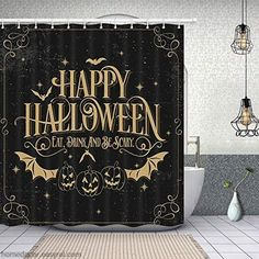 Buy Happy Halloween Bat With Pumpkin Shower Curtain (AT) This shower curtain is Made To Order, one by one printed so we can control the quality. We use newest DTG Technology to print on to Happy Halloween Bat With Pumpkin Shower Curtain (AT) Fall Shower Curtain, Halloween Shower Curtain, Halloween Bathroom, Shower Curtain Hooks, Halloween Bats, Halloween Season, Halloween Party Decor, Fabric Shower Curtains, Halloween Themes