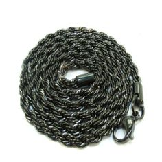Black Rhodium Plated Men's Rope Chain Stainless Steel Hip Hop Heavy 30 Inches long 4mm wide DazzlingRock Collection. Save 72 Off!. $14.99. It is a trendy accessory and makes a perfect gift for any occasion.. This is a unique chain. Get most bang for your buck