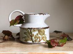 Midwinter Stonehenge Rustic Milk Jug or Creamer in Green Leaves Pattern // Made in Britain Bramble, Stonehenge, Milk Jug, Retro Home, Autumnal, Rustic Design, Vintage Ceramic, Rustic Kitchen, Pattern Making