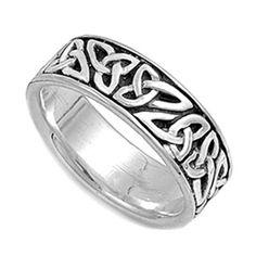 032ddd9a5 Custom Engraving Men Women Sterling Silver Celtic Band Ring 7mm / Free Gift  Box(SNRP141152)