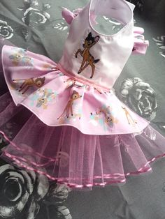 Small Dog clothing Bambi inspired Dress, Harness dress Chihuahua Coat puppy Yorkie outfit Designer limited edition XS
