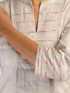 Buy Grey-Fuschia-Green Hand Brush Painted & Embroidered Yoke Cotton Kurta Online at Jaypore.com