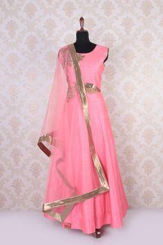 #Pink & #gold raw #silk zari worked exquisite #anarkali with high neck -SL4417