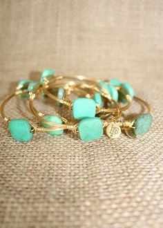 Bourbon & Boweties: Rounded Green Square Bangle