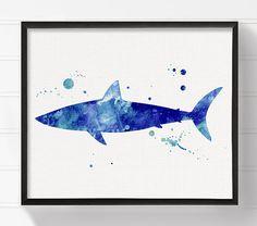 Watercolor Shark Shark Art Print Shark Painting by MiaoMiaoDesign