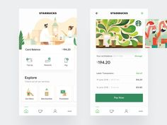Starbucks - Mobile App UI/UX designed by Daniel Tan. Connect with them on Dribbble; Design Android, App Ui Design, Interface Design, Flat Design, User Interface, Design Design, Graphic Design, Mobile App Icon, Mobile Web
