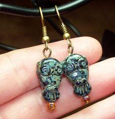 Jet Black Picasso Owl Earrings 18mm | evezbeadz - Jewelry on ArtFire