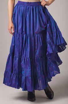 Silk Royal Blue Ruffled Skirt: Western Wear | Women Western Clothing | Western Apparel Clothing