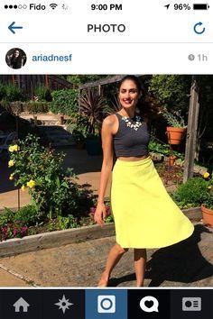 Grey crop top, yellow skirt & statement necklace