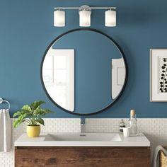 Millwood Pines Kacey Wall Mirror   Wayfair.ca Round Wall Mirror, Wall Mounted Mirror, Round Mirrors, Mirror Decal, Mirror Stickers, Mirror Set, Wall Decals, Large Round Mirror, Storage Mirror