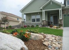Landscaping front yard with rocks curb appeal drought tolerant 36 Best ideas - front yard landscaping ideas with rocks Landscaping With Boulders, River Rock Landscaping, Front Yard Landscaping, Backyard Landscaping, Landscaping Ideas, Rock Mulch, Rock Garden Plants, Lawn And Garden, Summer Landscape