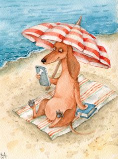 Inga Izmaylova Beach Illustration, Mini Dachshund, Daschund, Weenie Dogs, Doggies, Cute Dogs, I Love Dogs, Funny Dogs, Best Dogs