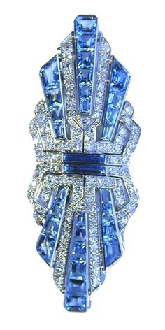 Art Deco Aquamarine and Diamond Double Clip Brooch circa 1925.