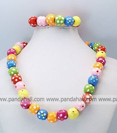 Colorful Wooden Jewelry Sets, Necklace  Bracelet Sets for Kid, Children's Day Gifts, Colorful $4.75