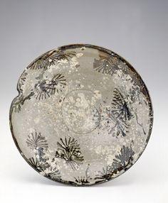 Japanese serving dish  early 19th century, Edo period  stoneware w/ white slip, iron pigment under feldspathic glaze