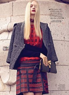 CHECK OUT THAT SAMURAI SKIRT BY CHANEL!    Nastya Kusakina Dons the Chanel Jacket for Flare October 2012 by Max Abadian