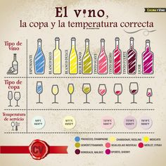 #Infografia con el tipo de vino, la copa y la temperatura de servicio correcta