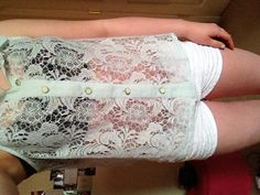 Lace !! Mint shirt , bandeau ,and crocheted shorts . All from platos closet